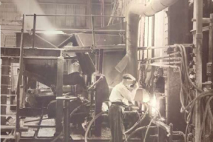 historical photo of glass production